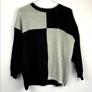 Vintage Metallic Knit Checker Colour Block Sweater